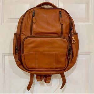 Light Brown Soft Leather Backpack Laptop Bag